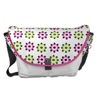 Neon Pink and Green Flowers Commuter Bags