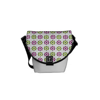 Neon Pink and Green Flowers Messenger Bags