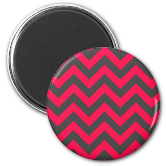 Neon Pink and Grey Chevron Pattern Magnet