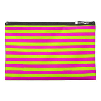 Neon Pink and Neon Green Stripes Travel Accessory Bag