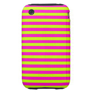Neon Pink and Neon Green Stripes iPhone3 Case