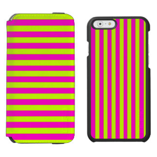 Neon Pink and Neon Green Stripes Incipio Watson™ iPhone 6 Wallet Case