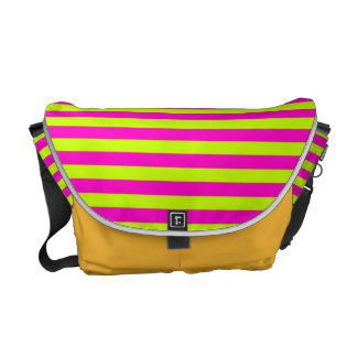 Neon Pink and Neon Green Stripes Messenger Bags