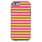 Neon Pink and Neon Green Stripes Tough iPhone 6 Case