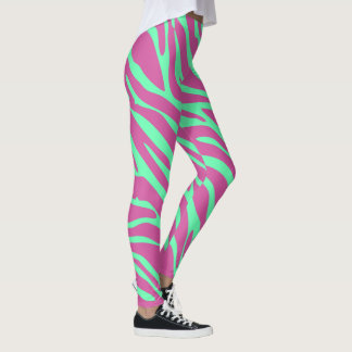 Neon Pink and Neon Green Zebra Animal Print Leggings