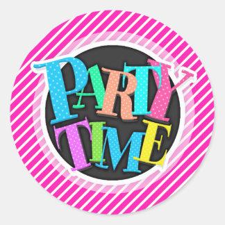 Neon Pink and White Diagonal Stripes Round Sticker