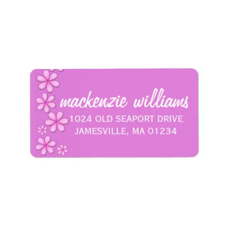 Neon Pink and White Return Address Labels
