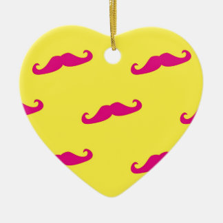Neon pink and yellow mustache ceramic heart decoration
