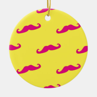 Neon pink and yellow mustache christmas ornament