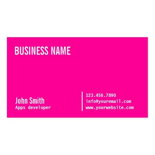 Neon Pink Apps developer Business Card