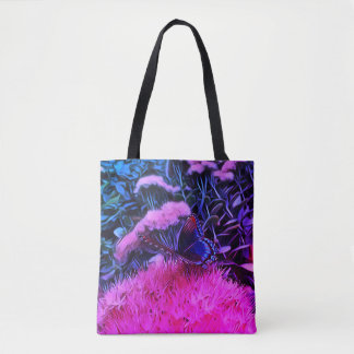 Neon Pink Blue Flowers With Monarch Butterfly Tote Bag