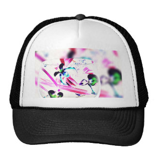 Neon Pink, Blue, Green Contemporary Orchid Design Cap