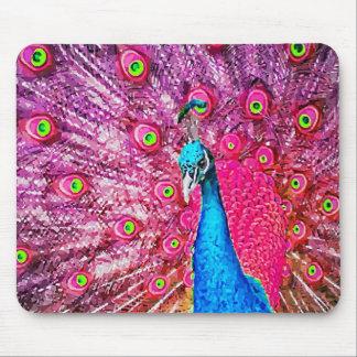 Neon Pink Blue Peacock Portrait Mouse Pad