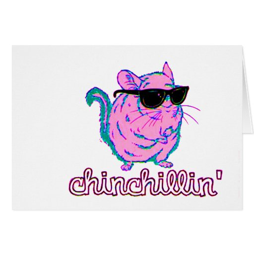 Neon Pink Chinchillin Chinchilla Greeting Cards