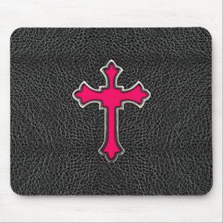 Neon Pink Cross Black Vintage Leather Image Print Mouse Mat