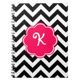 Neon Pink Custom Monogram with Chevron Pattern Notebook