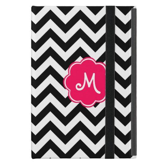 Neon Pink Custom Monogram with Zigzag Pattern iPad