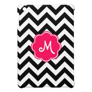 Neon Pink Custom Monogram with Zigzag Pattern iPad Mini Covers