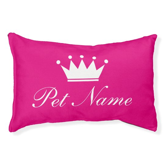 Neon pink dog bed with princess crown and
