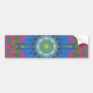 Neon Pink Folk Art Mandala Bumper Sticker