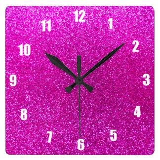 Neon pink glitter clocks