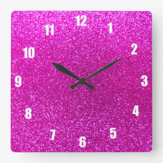 Neon pink glitter square wall clock