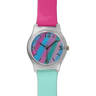 Neon pink green blue stripes pattern wrist watch