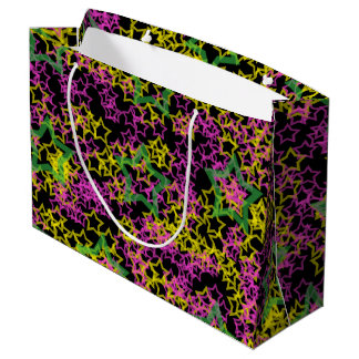 Neon Pink Green & Yellow Star Outlines on Black Large Gift Bag