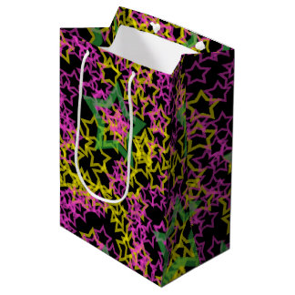 Neon Pink Green & Yellow Star Outlines on Black Medium Gift Bag