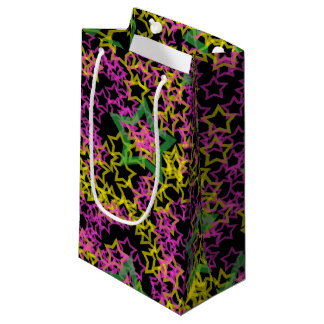 Neon Pink Green & Yellow Star Outlines on Black Small Gift Bag