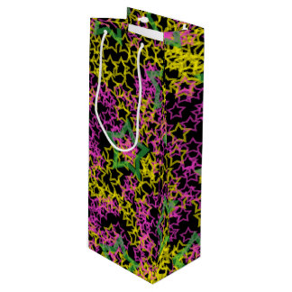 Neon Pink Green & Yellow Star Outlines on Black Wine Gift Bag