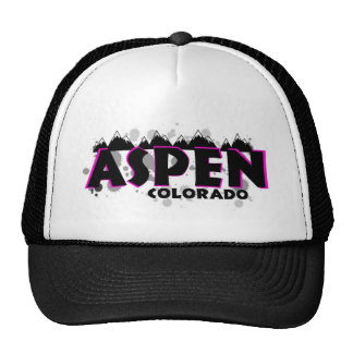 Neon pink grunge Aspen Colorado Mesh Hats