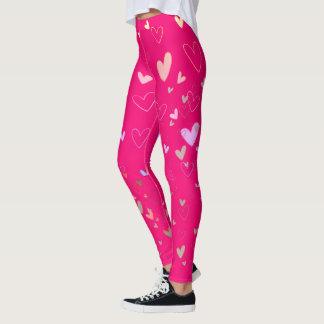 Neon Pink Hearts Vibrant Romantic Modern Ladylike Leggings