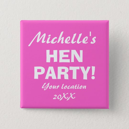 Neon pink hen party badge button for girls