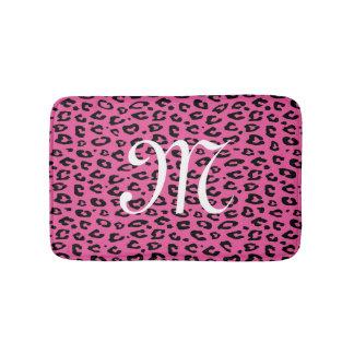 Neon pink leopard animal print monogram bath mat bath mats