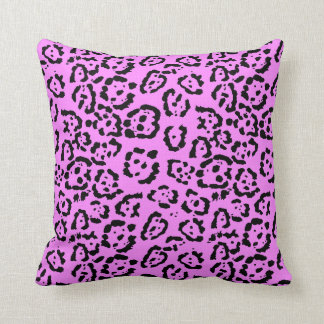 Neon Pink Leopard Print Animal Pattern Cushion