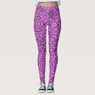 Neon Pink Leopard Print Animal Pattern Leggings