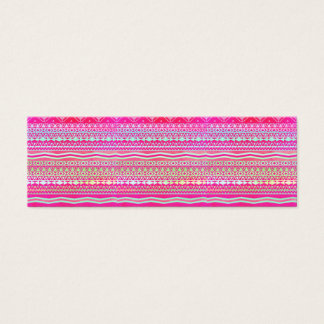 Neon pink modern pastel ombre geometric aztec mini business card