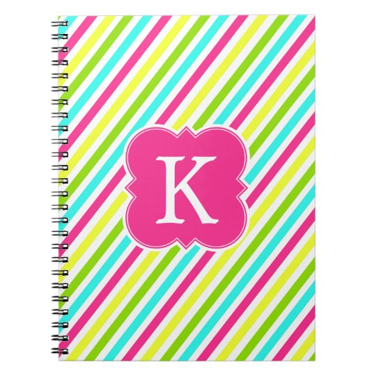 Neon Pink Monogram Stripes Notebook