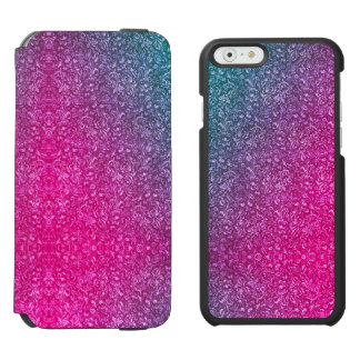 Neon Pink Muted Blue Floral Bright Colorful Incipio Watson™ iPhone 6 Wallet Case
