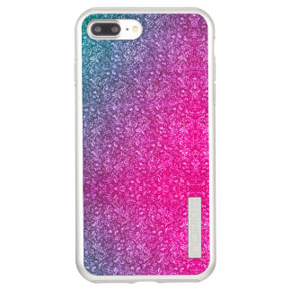 Neon Pink Muted Blue Floral Bright Colourful Incipio DualPro Shine iPhone 8 Plus/7 Plus Case