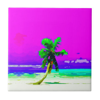 Neon Pink Palm Tree Paradise Small Square Tile