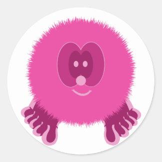 Neon Pink Pom Pom Pal Stickers