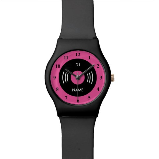 Neon pink retro watch with vinyl music record
