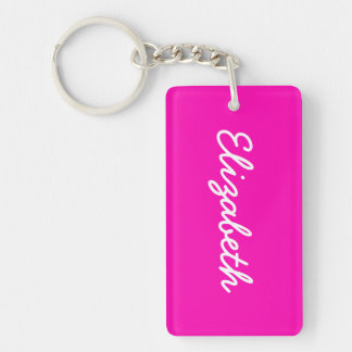 Neon Pink Solid Color Double-Sided Rectangular Acrylic Key Ring