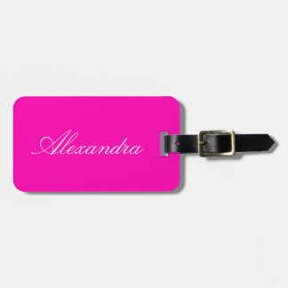 Neon Pink Solid Color Travel Bag Tag