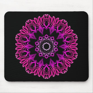 Neon Pink Space Flower Mouse Mat