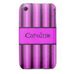 Neon Pink Stripes Case-Mate iPhone 3 Case
