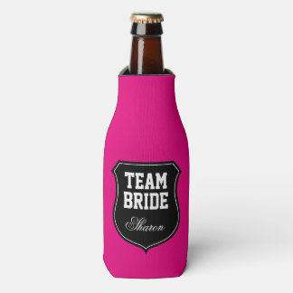 Neon pink Team Bride wedding party bottle coolers