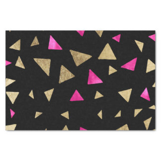 Neon pink watercolor gold triangles hand drawn tissue paper